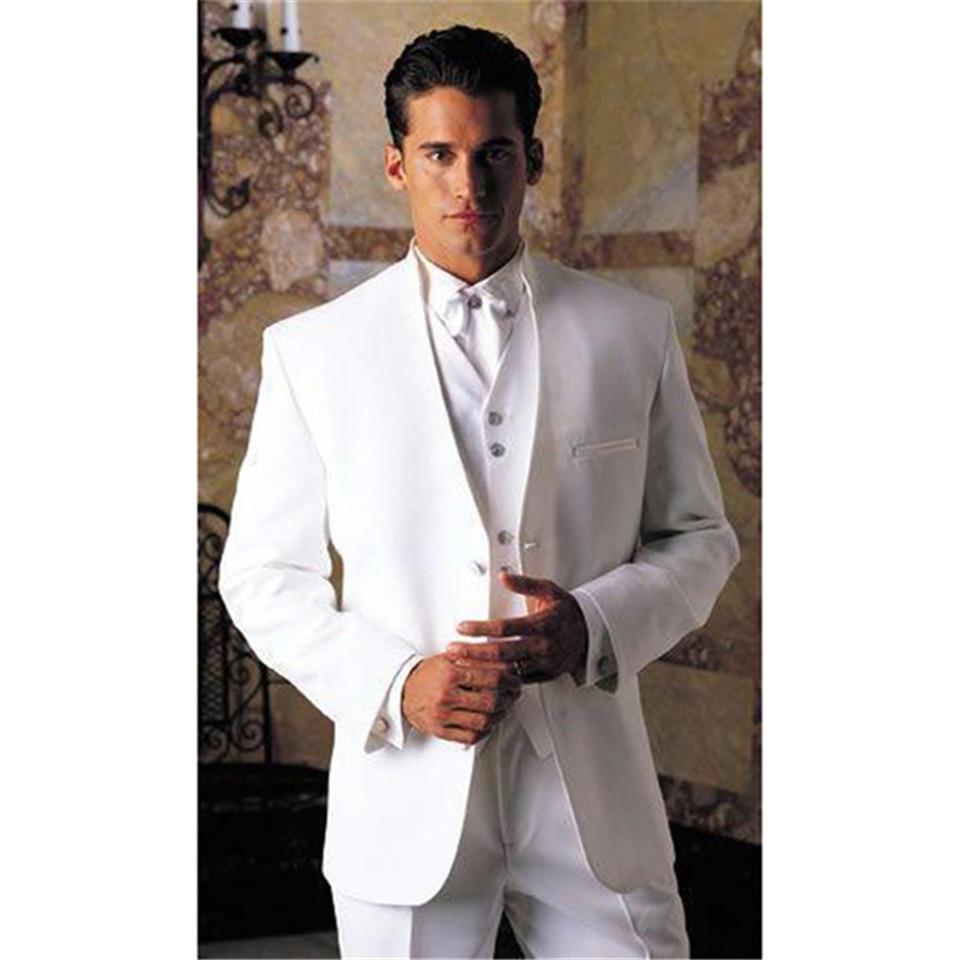 New Arrival White Tuxedos Men Suit Stand Collar Edge Best Male Blazer Party Groom Men's Suits 3 Piece Set (jacket+pants+vest)