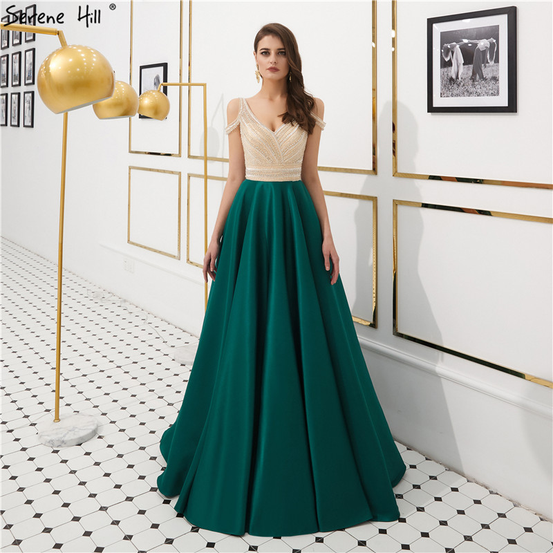 Green Backless Beading A-Line Prom Dresses 2019 V-Neck Satin Prom Party Gowns Serene HILL LA6183