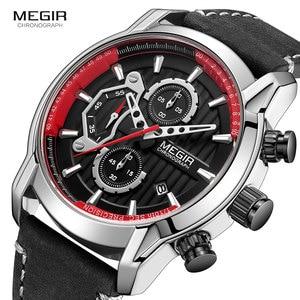 Image 1 - MEGIR männer Armee Sport Uhren Leder Wasserdichte Armbanduhr Mann Chronograph Analog Uhr Mann Leuchtende Relogio Masculino 2104