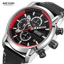 MEGIR الرجال الجيش الساعات الرياضية والجلود مقاوم للماء ساعة اليد رجل كرونوغراف التناظرية ساعة رجل مضيئة Relogio Masculino 2104