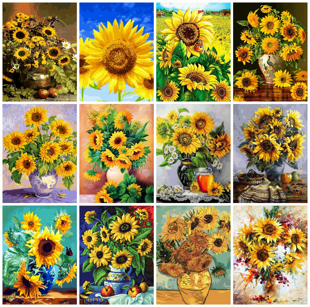 AZQSD Oil-Painting Numbers Frameless-Picture Unique Gift Abstract On-Wall 40x50cm Flower