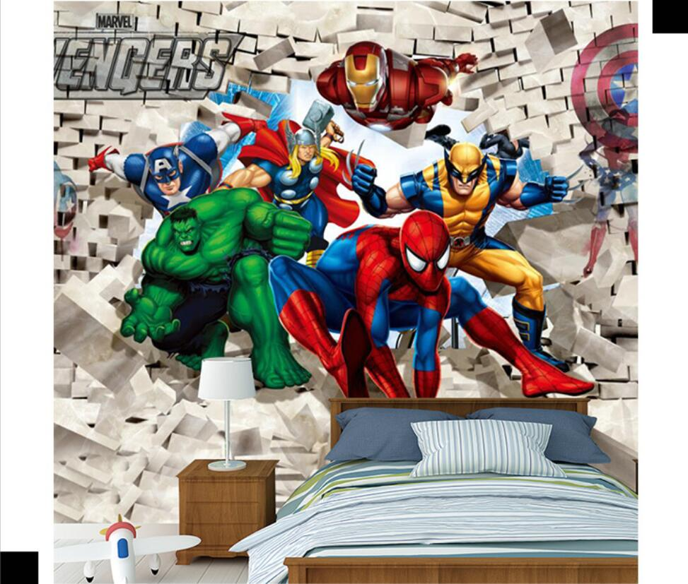 Milofi Custom 3D Wallpaper Mural 3D Stereo Cartoon Children's Room Avengers Bedroom Background Wall Paper Spiderman Mural