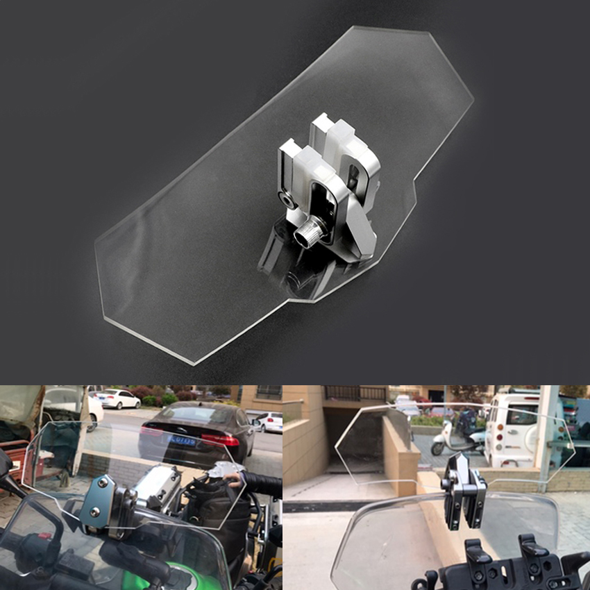 Unversal Airflow Adjustable Windscreen Wind Deflector Motorcycle Windshield FOR gsr 600 honda cbr 1100 xx bmw f 650 gs cb400sf image