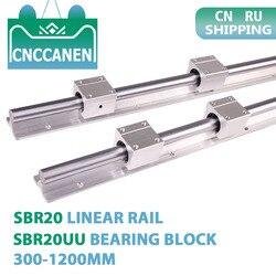 2 uds SBR20 20mm Longitud del riel de guía lineal 300-1200mm totalmente compatible con riel lineal con 4 Uds SBR20UU bloque de rodamiento pieza CNC lineal