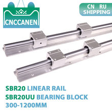 2PCS SBR20 20mm Linear Guide Rail Length 300-1200mm Fully Supported Linear Rail with 4PCS SBR20UU Linear Bearing Block CNC Part(China)