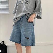 Verão 2021 novo buraco retro solto denim shorts das mulheres de cintura alta casual fino comprimento médio cinco pontos calças curtas meninas