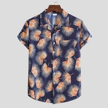 Hawaiian Printing Work Shirt Men Fashion Ethnic Short Sleeve Shirts For Men Casual Button Up Harajuku Blouse Tops Chemise Homme hawaiian shirt male short sleeve casual shirt for men fashion stripe blouse men summer new