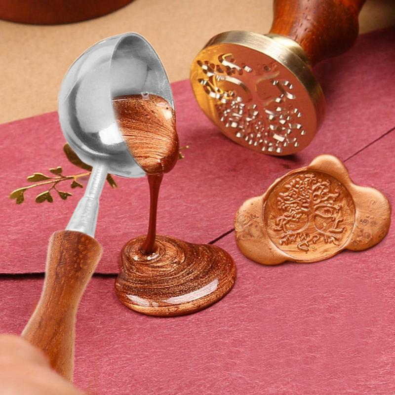 Anti-Hot Sealing Wax Spoon Wood Handle Retro Wax Stamping Spoons Invitation Cards Decorative Stamps Craft