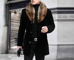 Mantel Männlichen Wolle Mischung Herbst Winter Mantel Männer Mit Künstlichen Pelz Kragen Mantel Männer Winter Graben Plus Größe M-5XL