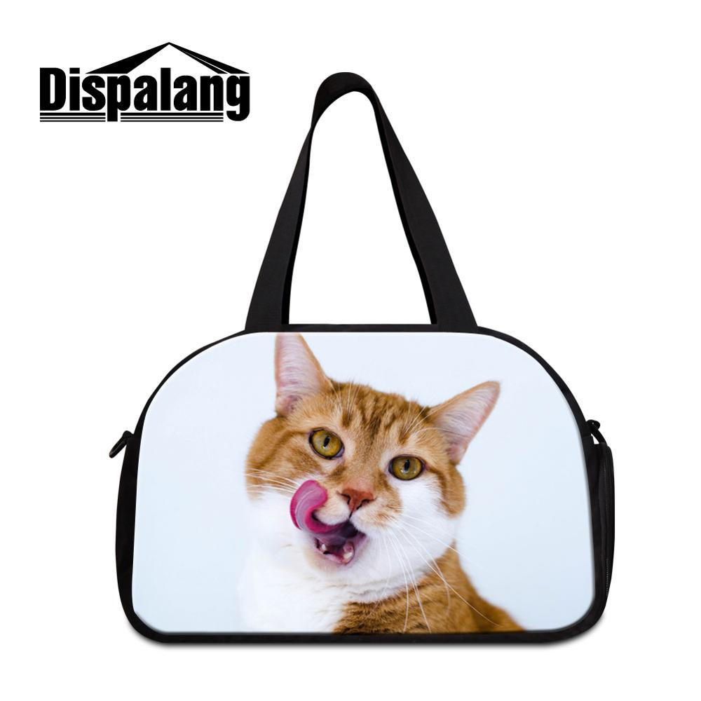 Women Canvas Travel Bags Custom Cat Animal Pig Shoulder Duffle Handbags For Student Girl Casual Crossbody Weekend Overnight Bags
