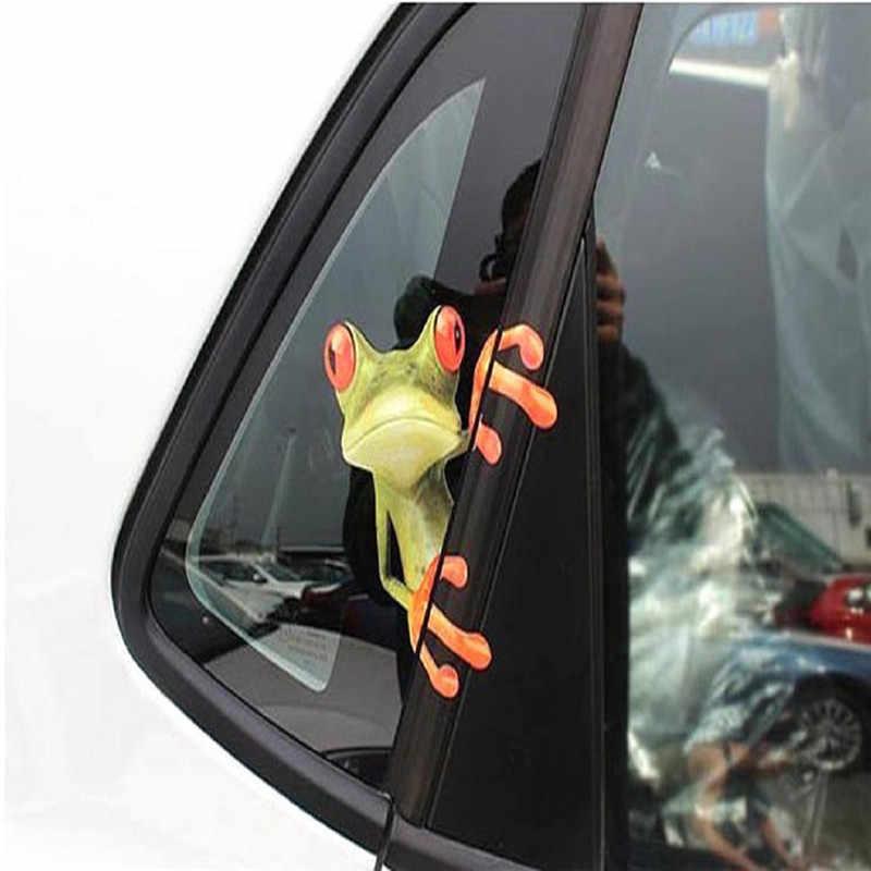 3D 立体車のステッカーおかしいカエルビニールデカールカーウィンドウ外装スタイリング装飾カーアクセサリー