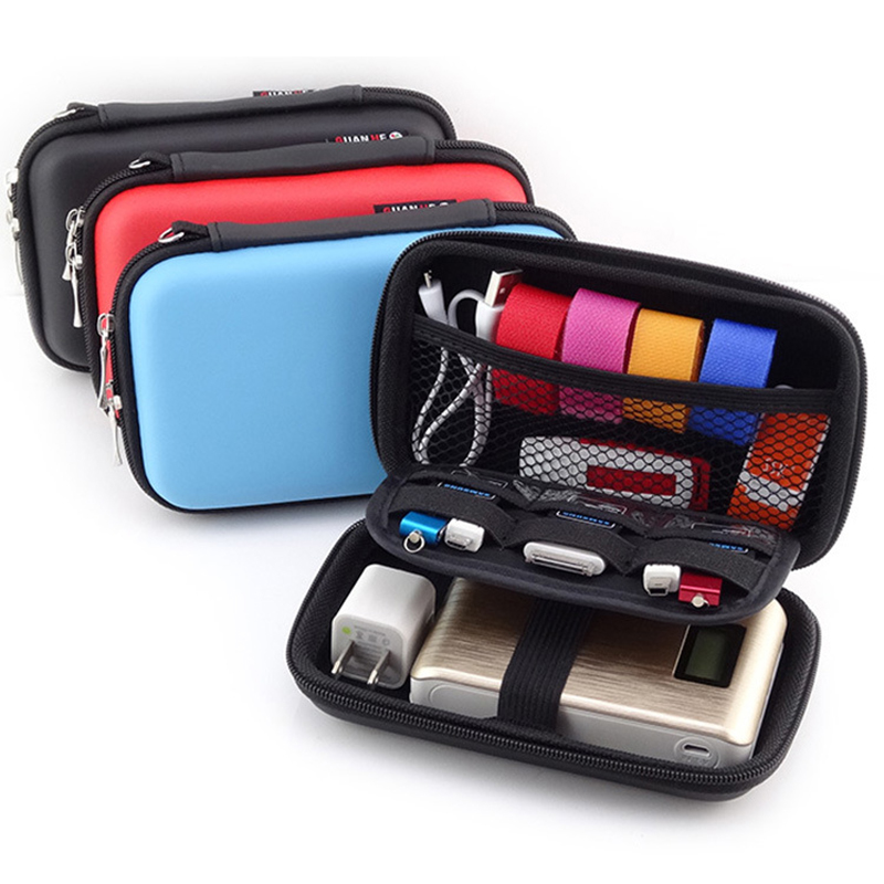 1PC Mobile Hard Storage Box Organizer Electronic Parts Storage Pouch 15.5x9x4cm Ear Cup Disk Drive Storage Container New