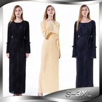 Europe And America Fashion Loose Elastic Bell Sleeve Long Crew Neck Dress Women's 1622