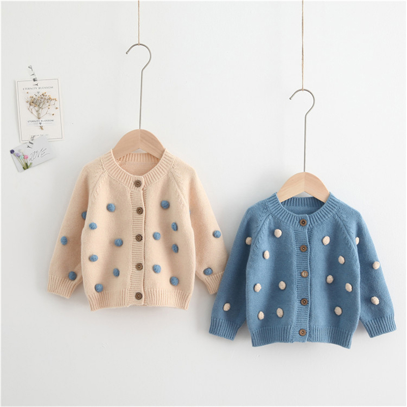 Knitted Baby Clothes Pompom Cashmere Cardigan Fall Winter Baby Knit Sweater Woolen Kids Toddler Sweaters Jumper Baby Boy Clothes