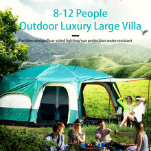 Glamping Large Tent Waterproof Double Layer 6 8 10 12 Person Tent Two Bedroom Outdoor Big Space Camping Tent