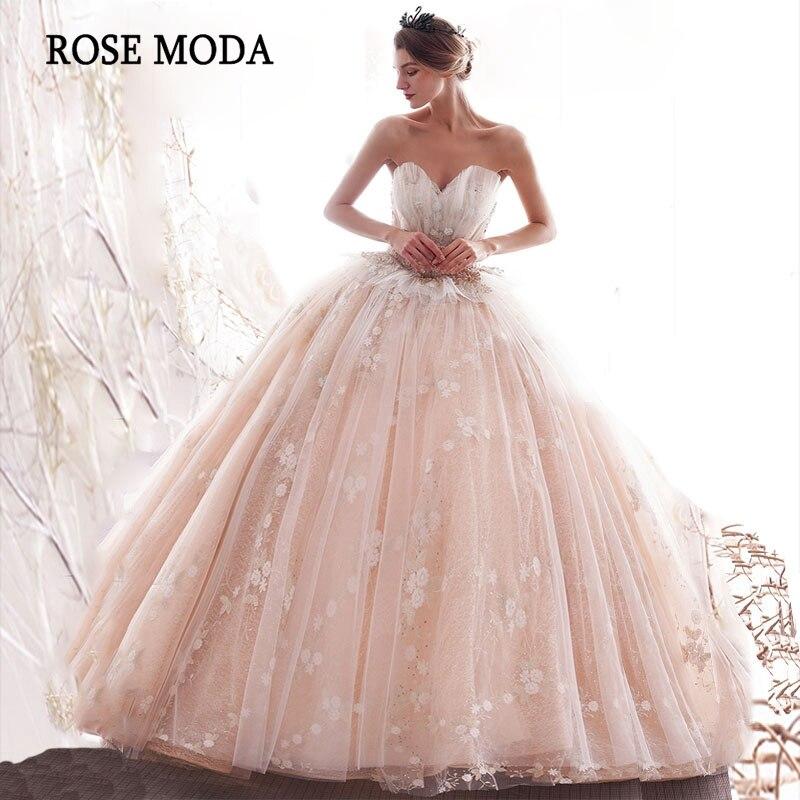 rose blush pink wedding dress