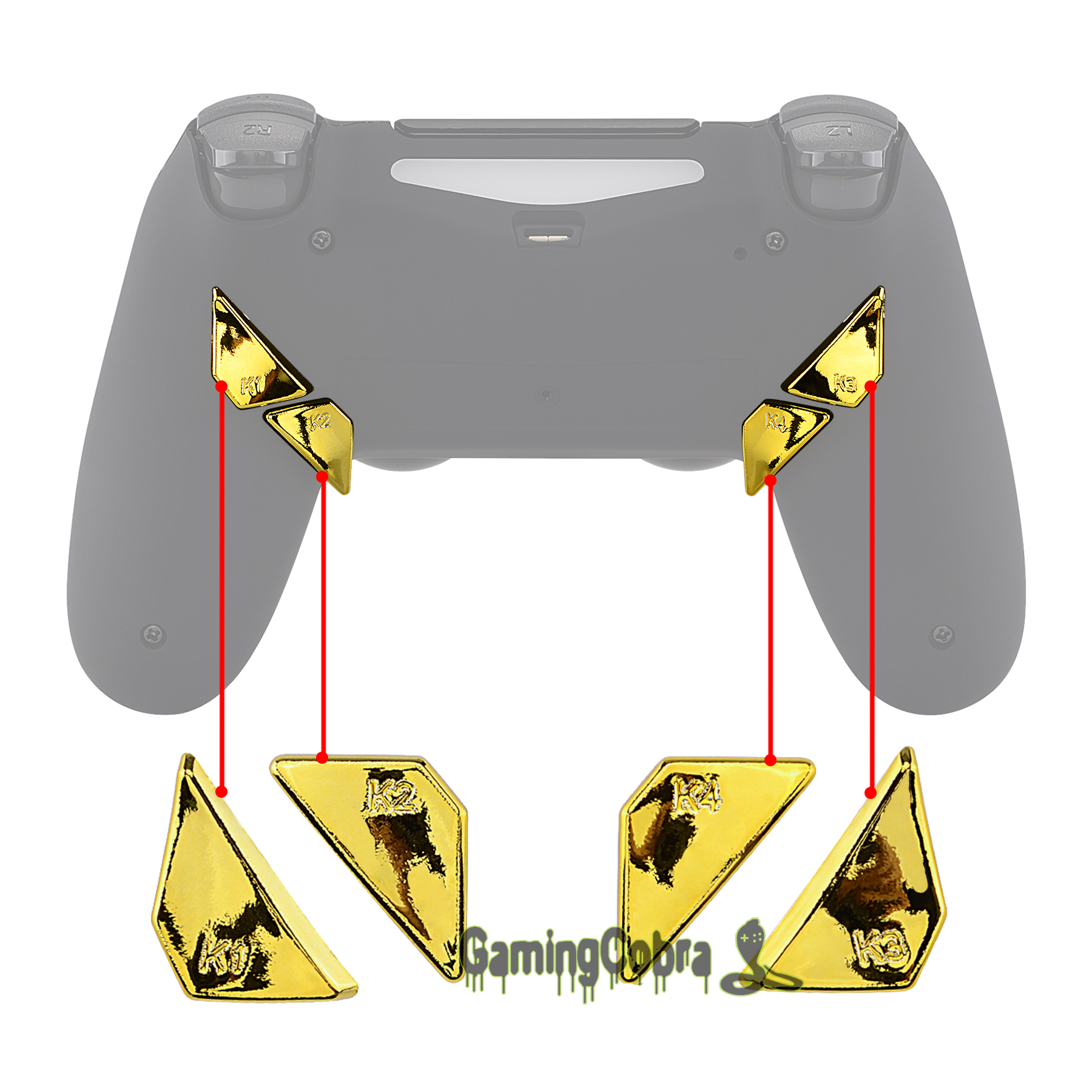 Chrome Gold Replacement Redesigned Back Buttons K1 K2 K3 K4 Paddles For EXtremeRate PS4 Controller DAWN Remap Kit