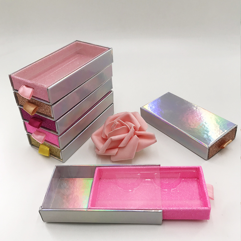 Slide Drawer Lashes Boxes Holographic Color Glitter Mink Eyelash Custom Packaging Without Lashes