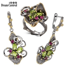 DreamCarnival1989 Gorgeous Zirconia Flower Rings + Earrings Vintage Ethnic Style Two Tone CZ Jewelry Hot Drop Shipping ER3873S2