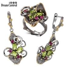 DreamCarnival1989 wspaniały cyrkon pierścienie kwiatowe + kolczyki w stylu Vintage etniczne dwa Tone CZ biżuteria Hot Drop Shipping ER3873S2