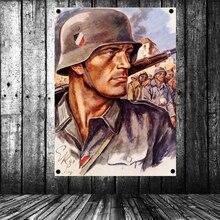 La Segunda Guerra Mundial cartel GER soldado guerra pared arte uniforme wehrmacht militar cartel de bandera Banner mural tapiz Vintage decoración tapicería
