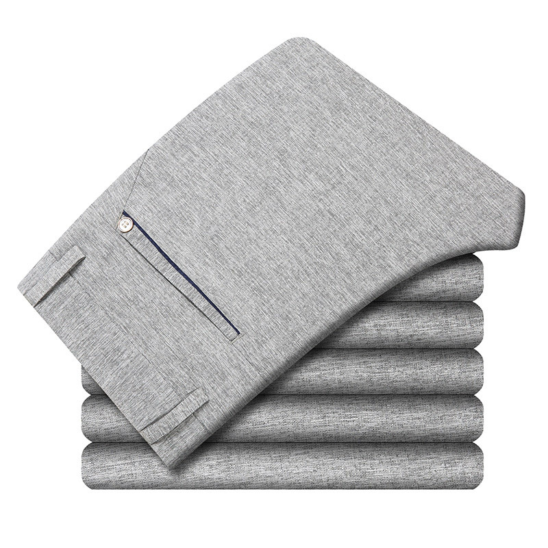 ICPANS Linen Men Suit Pants Classic Straight Summer Thin 2020 Office Men's Dress Trousers Formal Business Pant