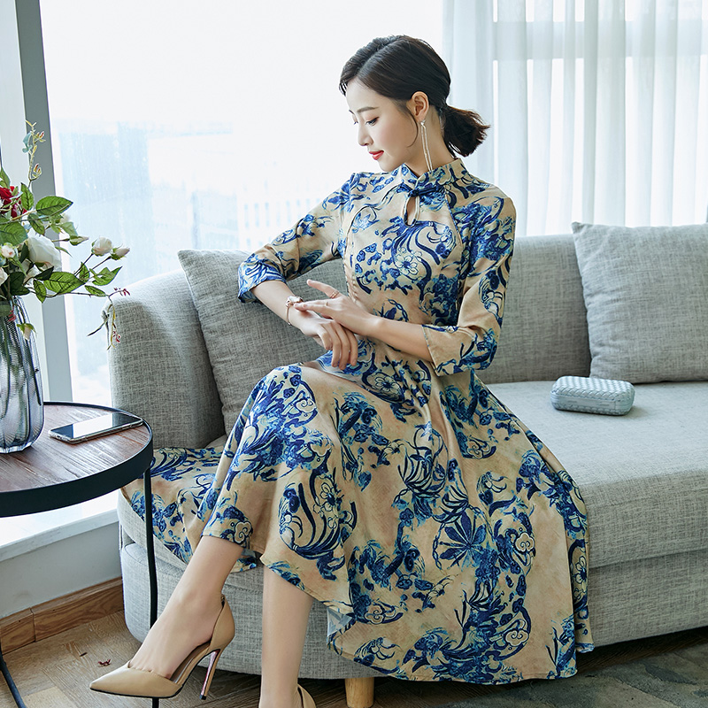 2020 Chinese Dress Qipao Improved Cheongsam Chinese Party Dresses Elegant Vintage Printing Long Dress Evening Party Gown