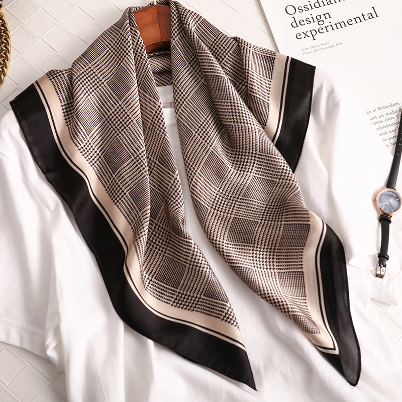 Luxury Silk Satin Head Scarf For Women Plaid Print Kerchief Neck Scarfs 70cm Square Shawls and Wrpas Scarves For Ladies Dropship