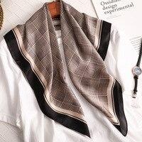 Luksusowa satyna jedwabna szalik na głowę dla kobiet nadruk w szkocką kratę chustka na szyję 70cm kwadratowe szale i szaliki Wrpas dla pań Dropship