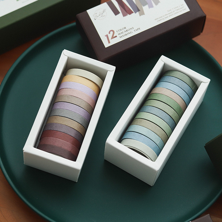 12pcs Color Paper Tapes Handmade DIY Decorative Washi Tape Morandi Color Washitape Scrapbooking Fita Adesiva School Tools