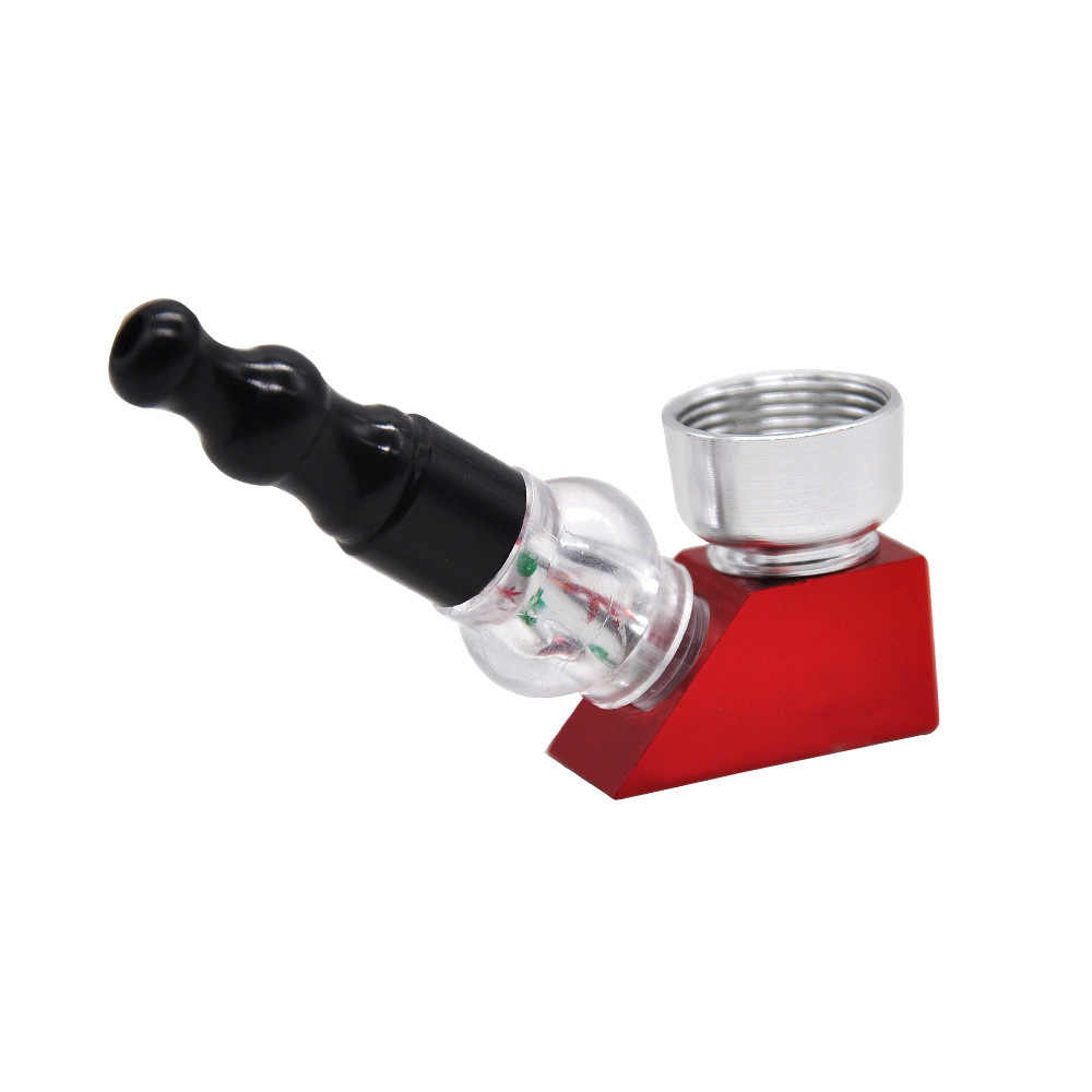 Nouveau tuyau en métal conception trapézoïdale en aluminium et acrylique tuyau de tabac amovible léger Portable Pipe à tabac fumer