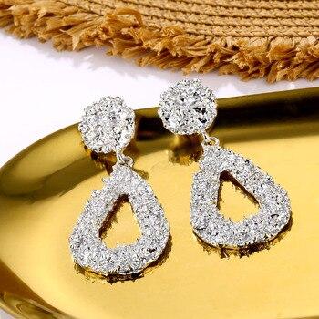 VKME Fashion Oversize metal Earrings For Women Girls Brinco Big Hoop Earrings Circle Earring Statement Geometric Fashion Jewelry 4