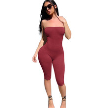 Black Skinny Glitter Strapless Tube Romper Sleeveless Streetwear Female 2020 Women Bodycon Playsuits and jumpsuits(China)