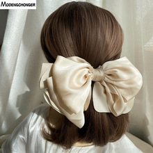 1PC Winter Velvet Bowknot Hair Clips Hand Tie Large Pigtail Bows Hairpin For Women Girls Satin Temperament Elegant Accessoires