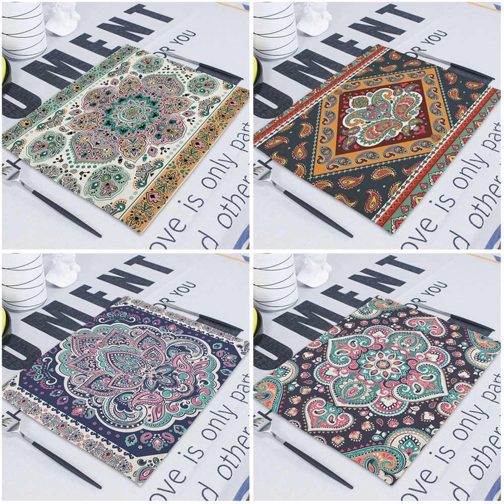 1 pièces Mandala rétro géométrique rayure serviettes de Table imprimé tissu dîner serviette 42*32cm Boho torchons pour décor à manger Servetten