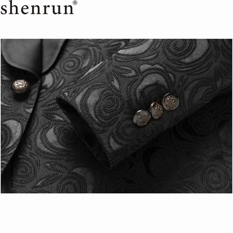 Shenrun 男性の黒のブレザースリムフィットカジュアルスーツ結婚式ショールラペル Tuxdeo 男性ジャケット男ブレザーパーティーウエディングステージ衣装