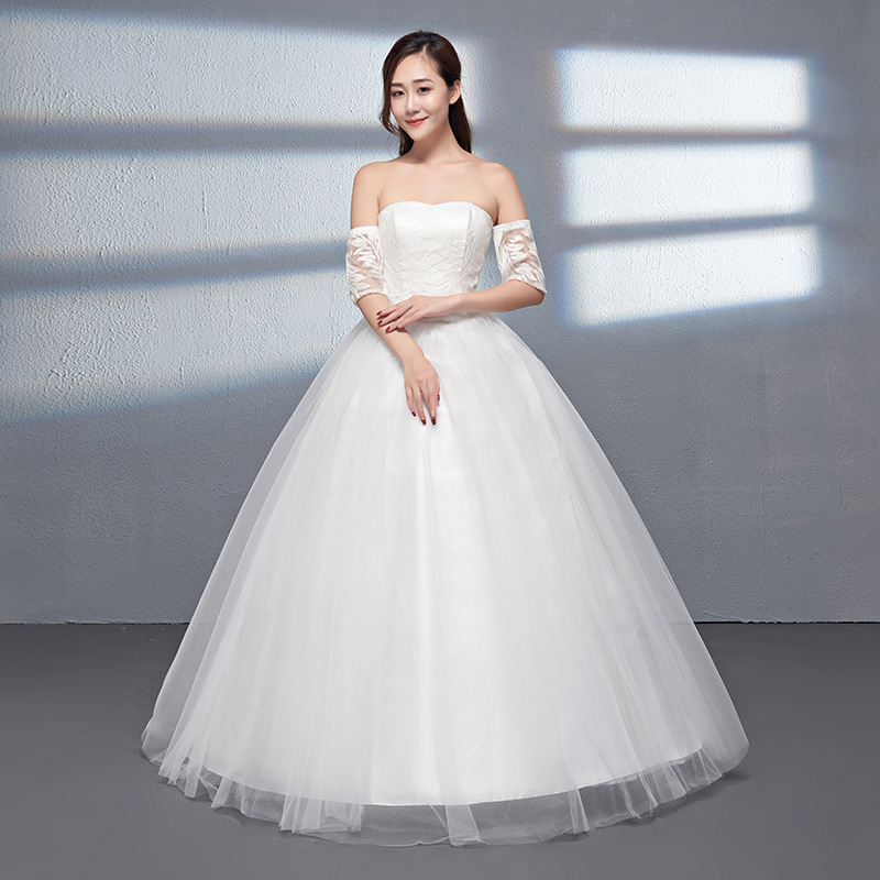 0586 New Style Deconstructable Sleeve A- Line Slimming Shoulder Wedding Dress Studio Jewelry Store Songke Wedding Dress Large Si