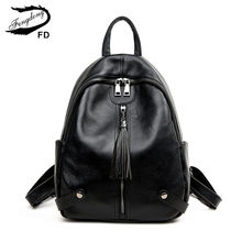 FengDong women black genuine leather backpack female real leather tassel back bag pack girls fashion small travel backpack bag(China)