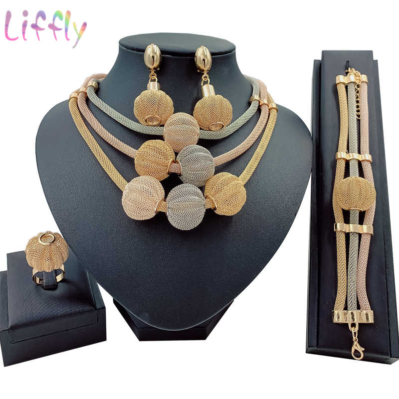 Big African Gold Jewelry Set for Women Nigerian Choker Necklace Statement Jewellery Three Tone Layered Earrings Ring Bracelet