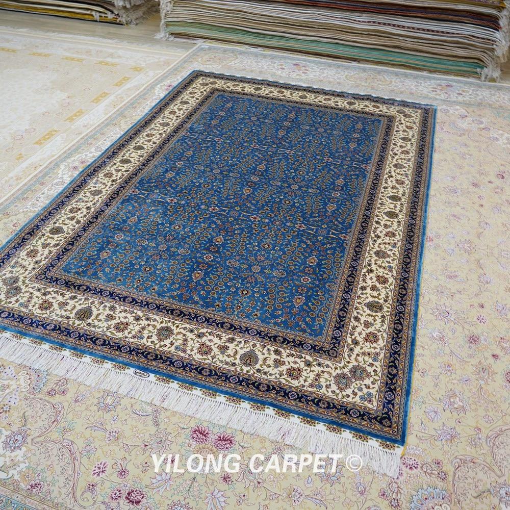 Yilong 6'x9 'Vantage əl düyünlü mavi qonaq otağı xalça ipək - Ev tekstil - Fotoqrafiya 3