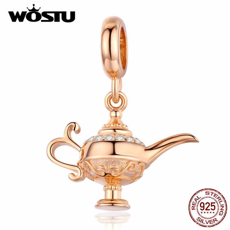 WOSTU رائجة البيع 925 فضة مصباح من علاء الدين استرخى سحر صالح الأصلي لتقوم بها بنفسك الخرز سوار محظوظ أتمنى مجوهرات هدية CQC703