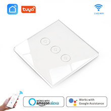 Wifi Switch Touch Smart Light Switch Panel Wall 3 Gang App Voice Control with Google Home alexa amazon automation for Smart Home wifi smart home switch ac 110v 220v 3 way wall light remote control app voice amazon alexa switch home screen eu standard ds35