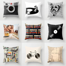 Vintage Nostalgic Style Pillow Case Monochrome Camera Record Elements Decor Throw Pillow Case Sofa Cushions Covers