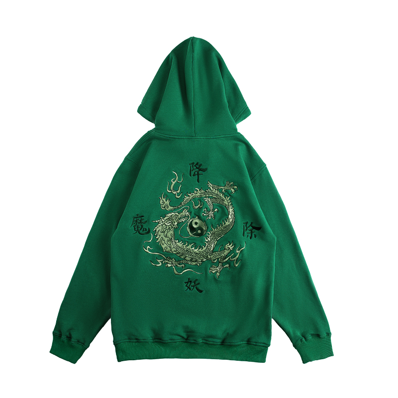 Hip Hop  Embroidery Hoodies Mens Autumn Casual Pullover Sweats Hoodie Male Fashion Skateboards Sweatshirts Off Printed Dragon
