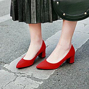 Image 5 - ZawsThia עבה גבוהה עקבים נעלי נשים משאבות נעלי עבודת בוהן מחודדת להחליק על עקבים גבוהים אביב הנעלה גדול גודל 42 43 אדום צהוב