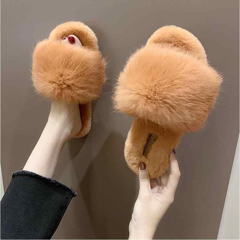 Флисовые Тапочки женские 2019 Новая Осенняя уличная одежда пушистые тапочки домашние тапочки на плоской подошве