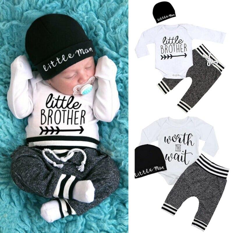 2020 Newborn Baby Boy Clothes Sets 3pcs Infant Little Brother Long Sleeve Cotton Soft Romper Pant Hats Outfit Clothes