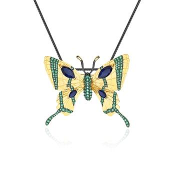 GEM'S BALLET 925 Sterling Silver Handmade Golden Butterfly Pendant 3.6Ct Natural Sapphire Gemstone Brooch For Women jewelry