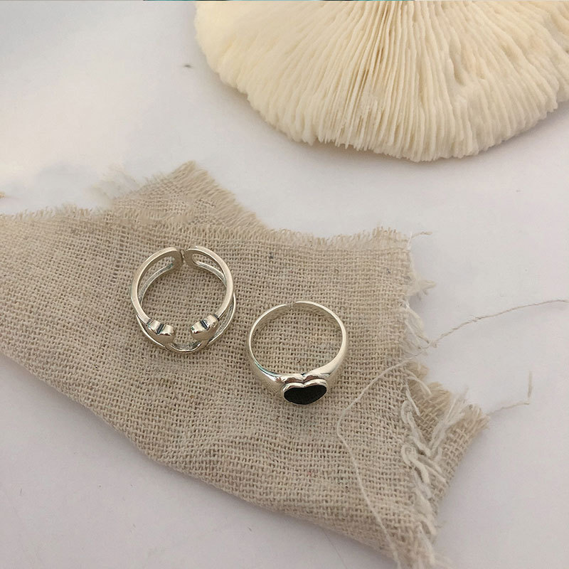 XIYANIKE 925 Sterling Silver Korea Heart-Shaped Love Peach Dollar Smiley Ring Female Hot Index Finger Tail Ring Fashion Trend 5