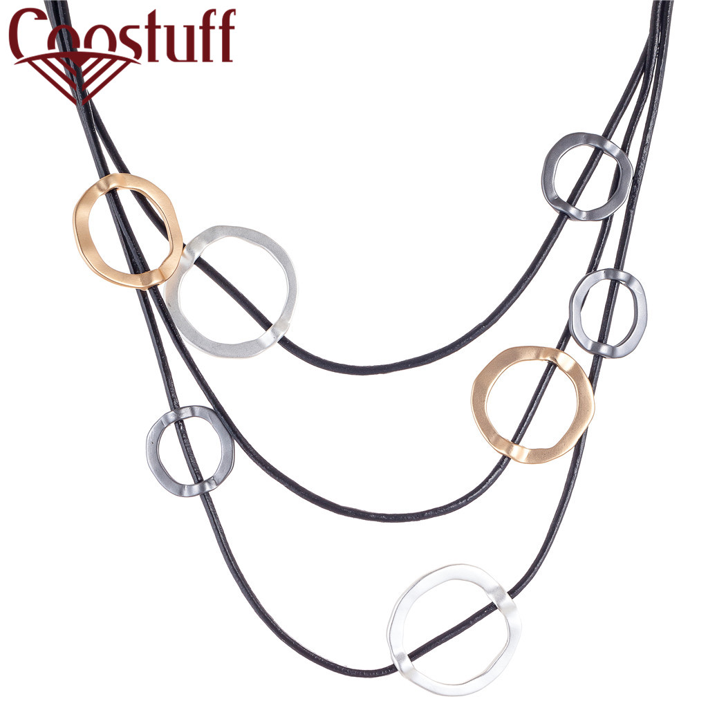 necklaces & pendants jewelry for women chokers Circle 3 Layers VIntage Jewellery Fashion Trendy Chunky Choker Colar Black Chains